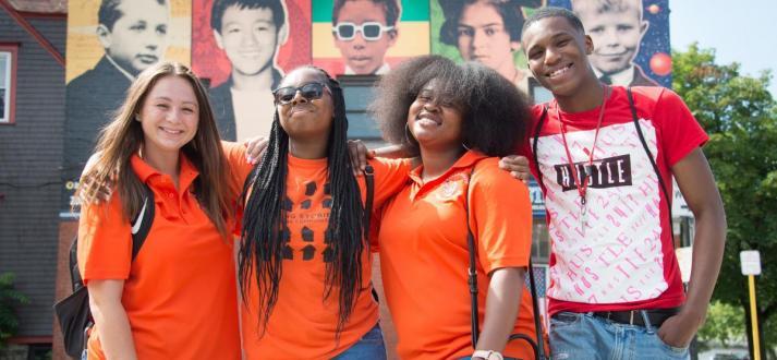 Buffalo State students on Elmwood Avenue